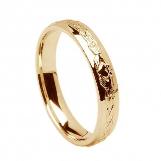 Gold Celtic Claddagh Wedding Ring