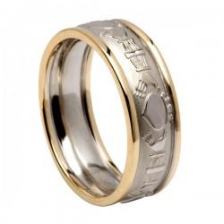 Gold Claddagh Wedding Ring with Trim