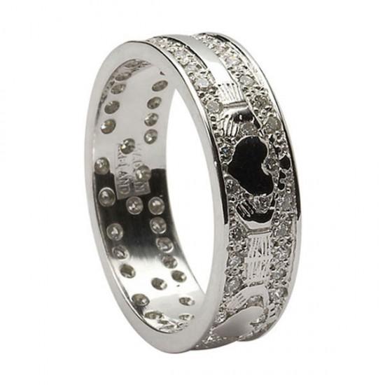 Gold Diamond Pave Set Claddagh Wedding Ring