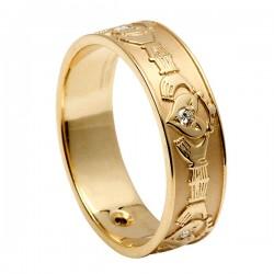 Gold Diamond Set Claddagh Wedding Ring