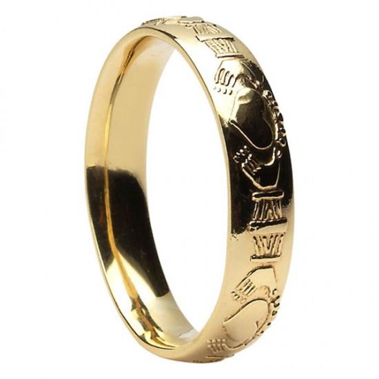 Gold Raised Claddagh Wedding Ring