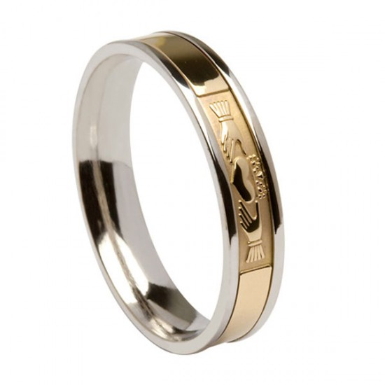 Silver Signature with Gold Claddagh Wedding Ring