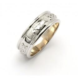 Silver Wide Celtic Claddagh Wedding Band