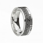 Sterling Silver Trinity Knot with Ogham Script Faith Wedding Band