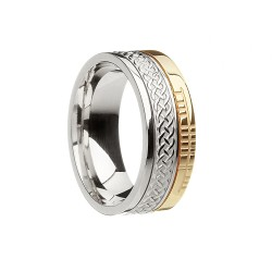 Gold Celtic Knot with Ogham Script Faith Wedding Band