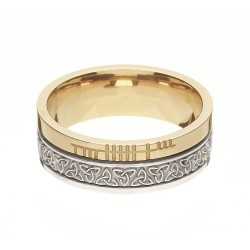 Gold Trinity Knot with Ogham Script Faith Wedding Band