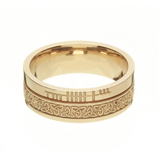 Gold Celtic Knot with Ogham Script Faith Wedding Band