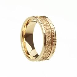 Gold Trinity Knot with Ogham Script Faith Wedding Band
