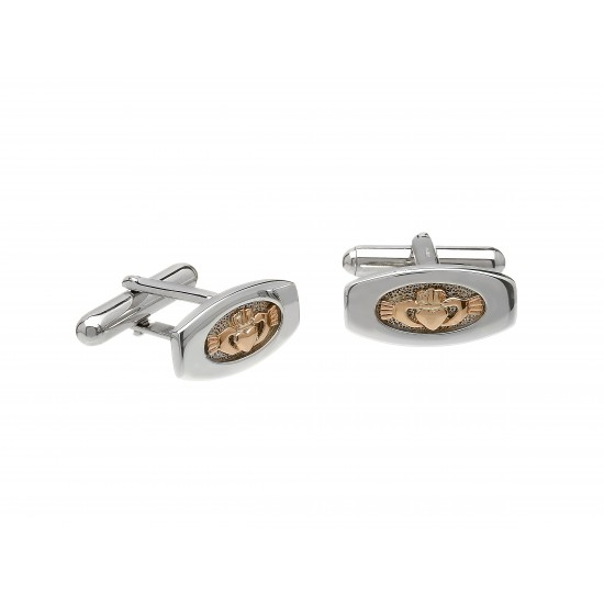 Silver and Rose Gold Cufflinks With Claddagh Centres