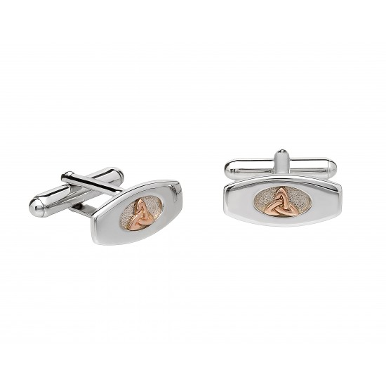 Silver and Rose Gold Cufflinks With Trinity Knot Centres