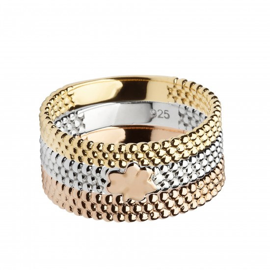 Three Part Beaded Stack Ring