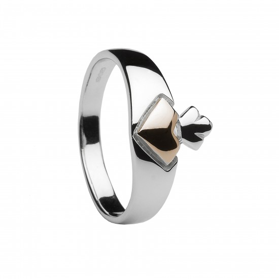 Silver and Rose Gold Claddagh Ring