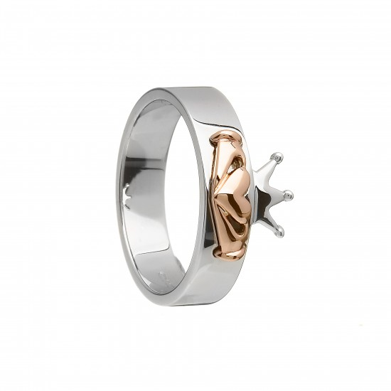 Silver and Rose Gold Claddagh Band