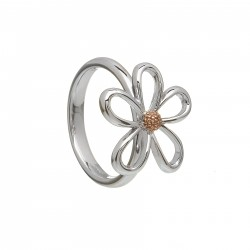 Silver and Rose Gold Petal Ring