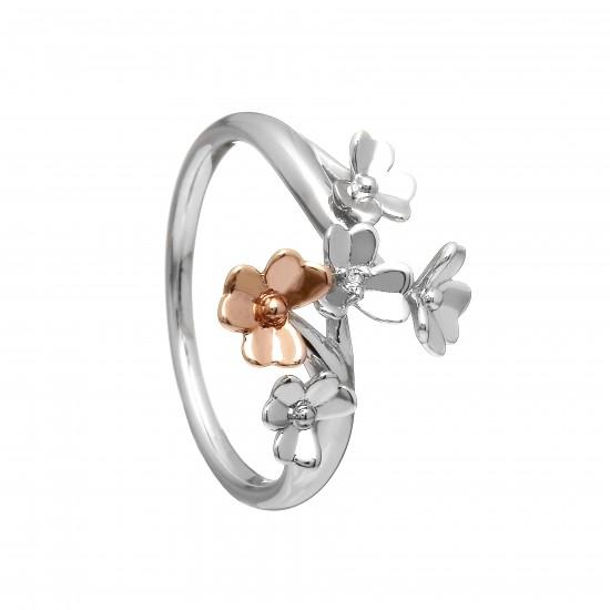 Irish Love Shamrock Flower Ring