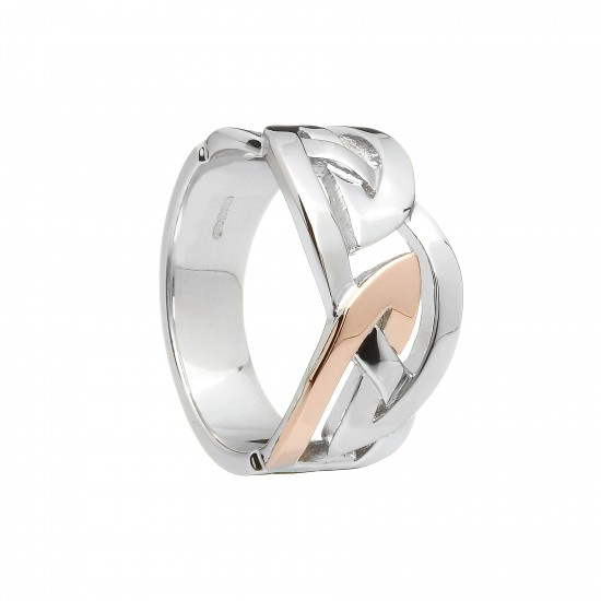Silver and Rose Gold Mens Celtic Ring