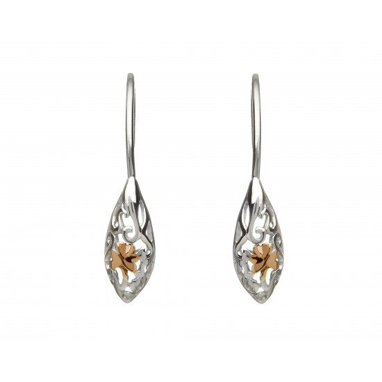 Sterling Silver and Rose Gold Celtic Drop Earrings
