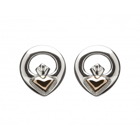 Silver and Rose Gold Claddagh Stud Earrings