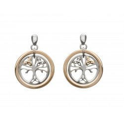 Silver and Rose Celtic Tree Of Life Earrings
