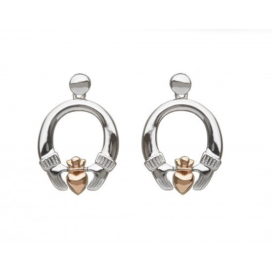 Silver and Rose Gold Claddagh Earrings