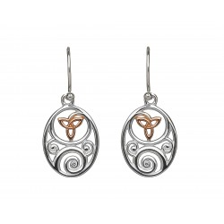 Silver and Rose Gold Celtic Trinity Knot Earrings