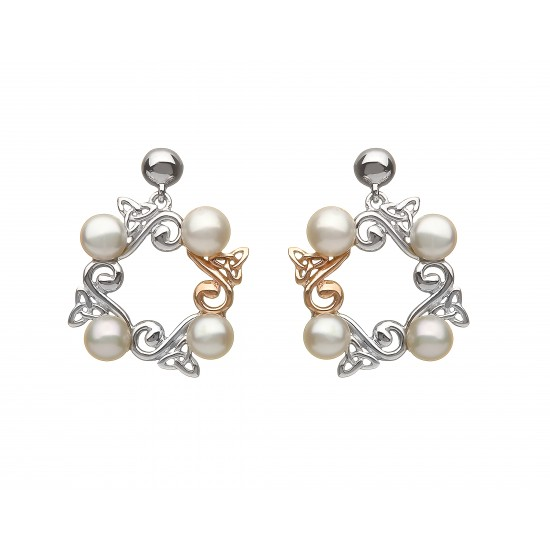 Silver and Rose Gold Celtic Pearl Earrings