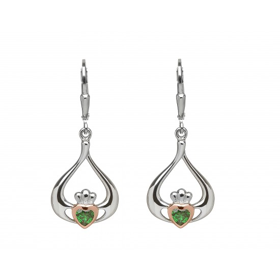 Silver and Rose Gold Claddagh Drop Earrings
