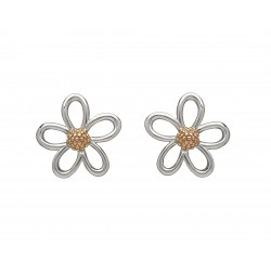 Silver and Rose Gold Petal Stud Earrings