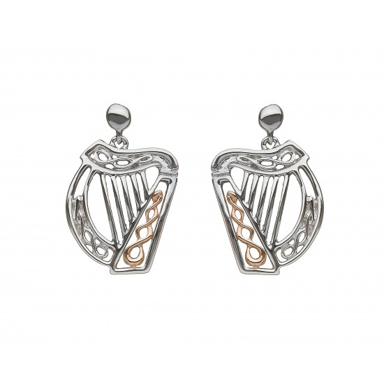 Silver and Rose Gold Celtic Harp Earrings