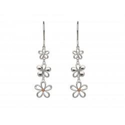 Silver and Rose Gold Diamond Petal Drop Earrings