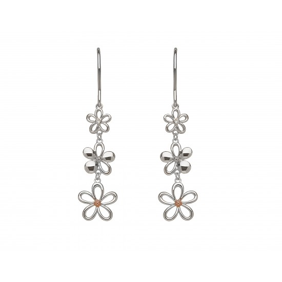 Silver and Rose Gold Diamond Petal Drop Earrings