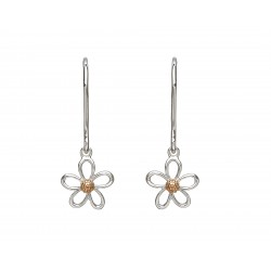 Silver and Rose Gold Petal Drop Earrings