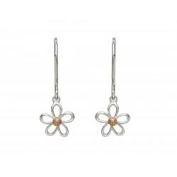 Silver and Rose Gold Petal Drop Earrings