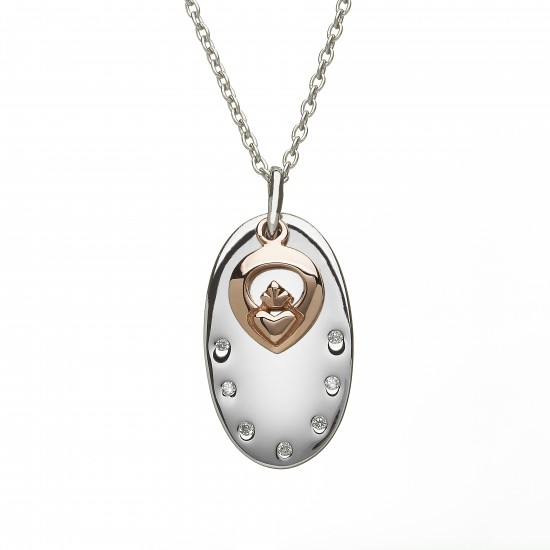 Sterling Silver Disc With Rose Gold Claddagh