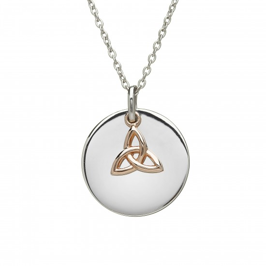 Sterling Silver Round Disc With Rose Gold Trinity Knot