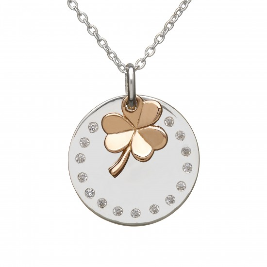 Sterling Silver Round Disc With Rose Gold Shamrock