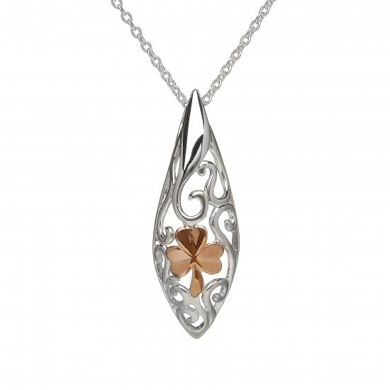 Sterling Silver Celtic Pendant With Rose Gold Shamrock