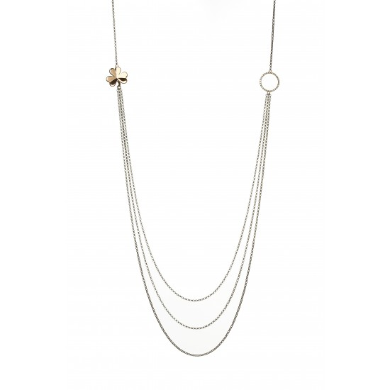 Sterling Silver and Rose Gold Three Stand Necklet