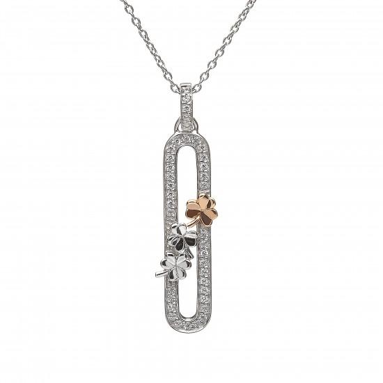 Sterling Silver and Rose Gold Shamrock Pendant