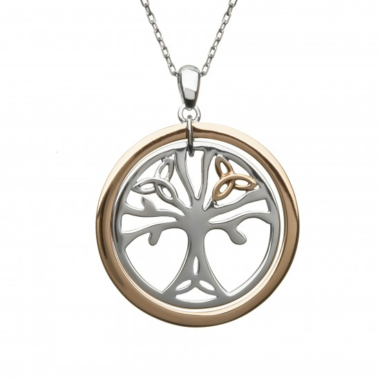 Silver and Rose Tree Of Life Pendant