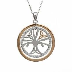 Silver and Rose Celtic Tree Of Life Pendant