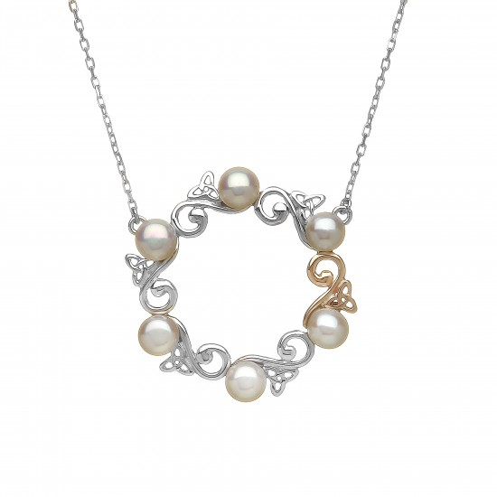Silver and Rose Gold Celtic Pearl Pendant