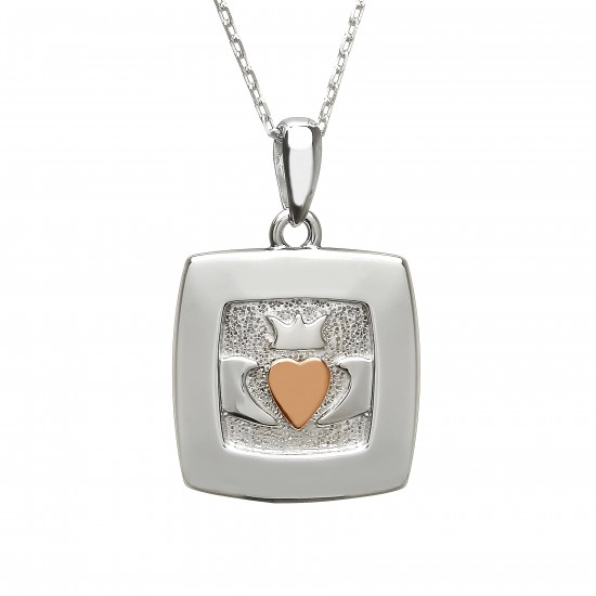 Silver and Rose Gold Square Claddagh Pendant
