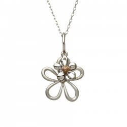 Silver and Rose Gold Small Double Petal Pendant