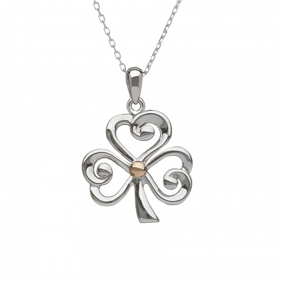Silver and Rose Gold Open Shamrock Pendant