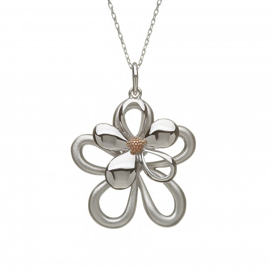 Silver and Rose Gold Double Petal Pendant