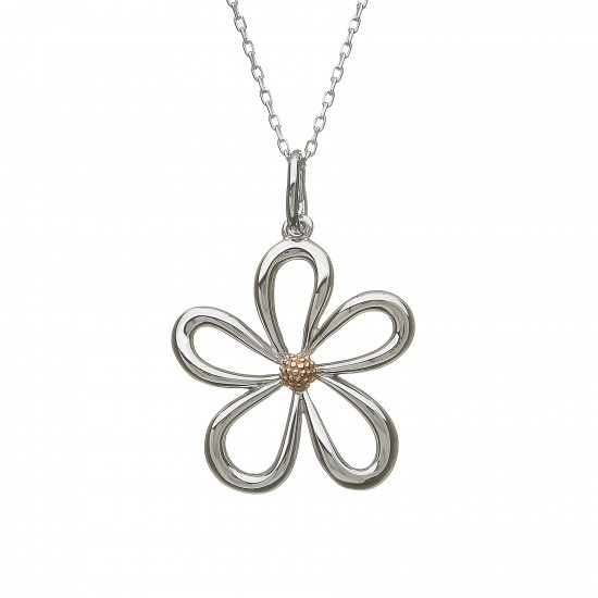 Silver and Rose Gold Open Petal Pendant