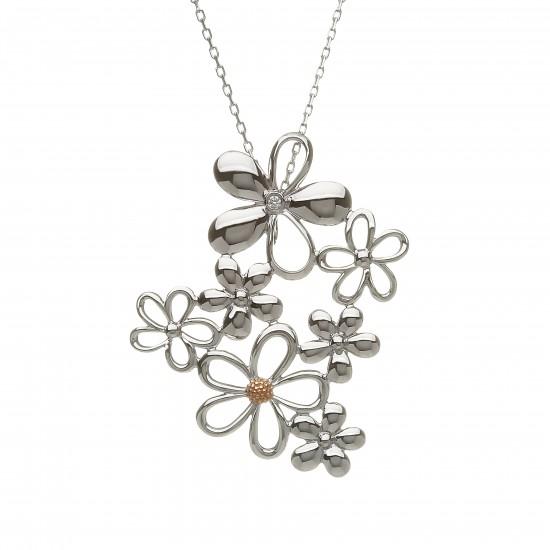Diamond Set Silver and Rose Gold Petal Pendant