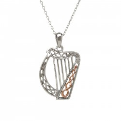 Silver and Rose Gold Celtic Harp Pendant