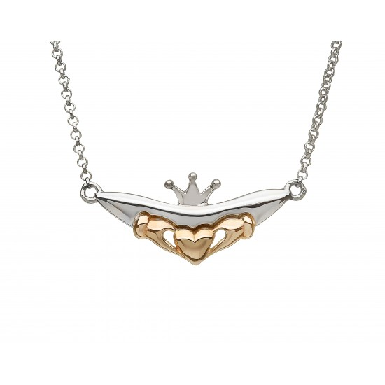 Silver and Rose Gold Claddagh Split Chain Pendant